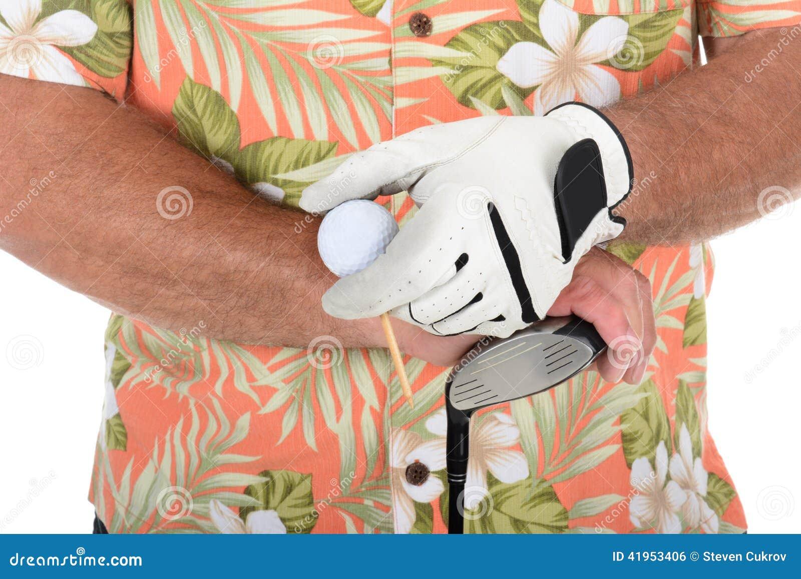 Golfista Jest ubranym Hawajską koszula