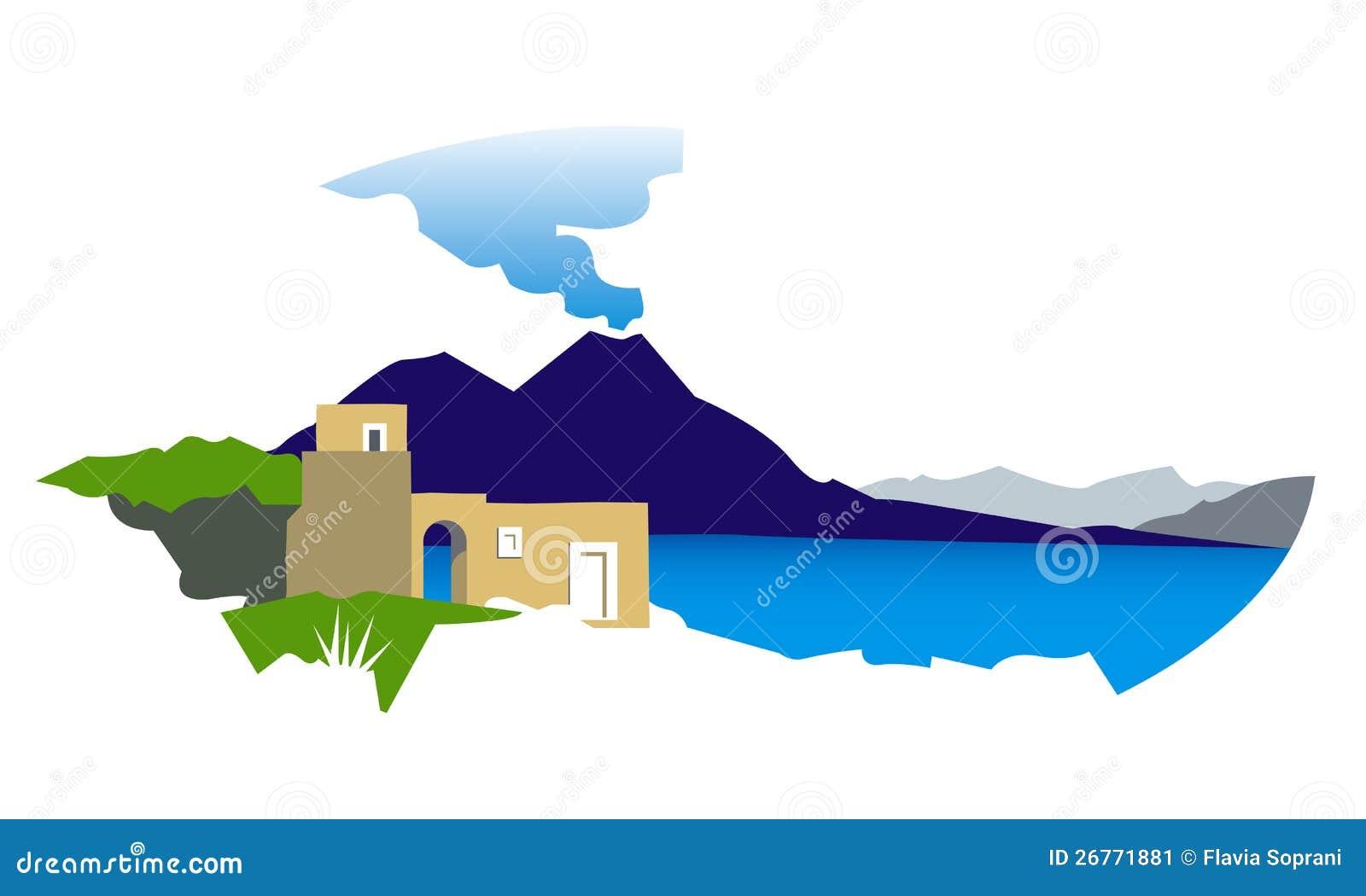 Golfo di napoli con l illustrazione del vesuvio