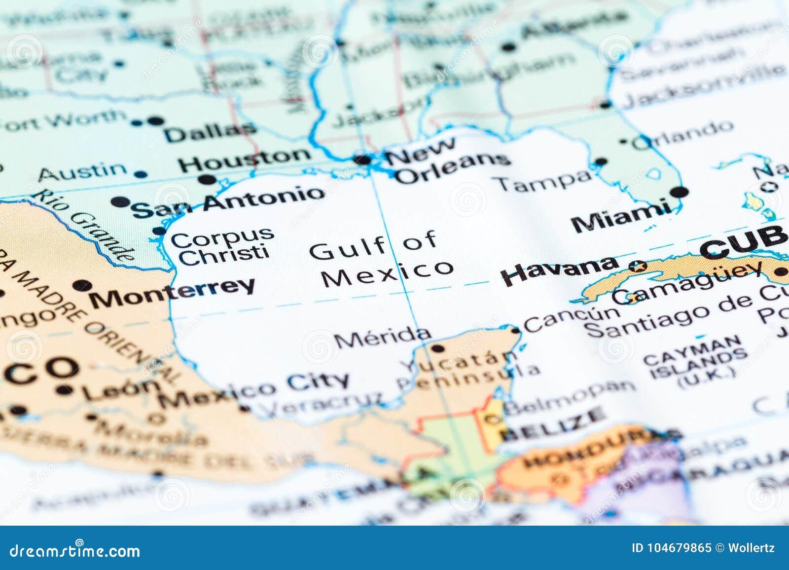 Golfo Do Mexico Em Um Mapa Imagem De Stock Imagem De Mapa 104679865
