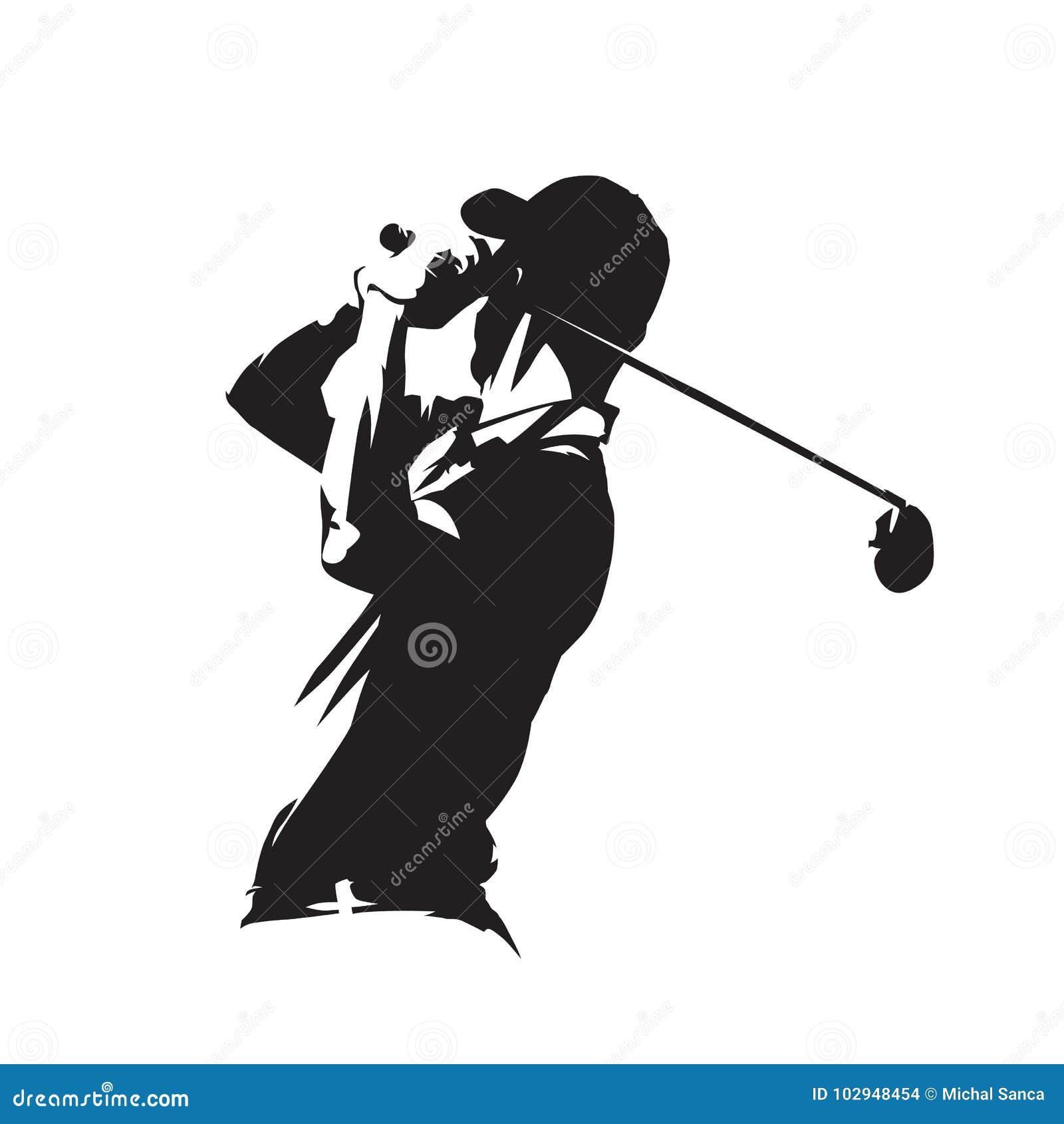 Golfowego gracza ikona, golfisty wektoru sylwetka