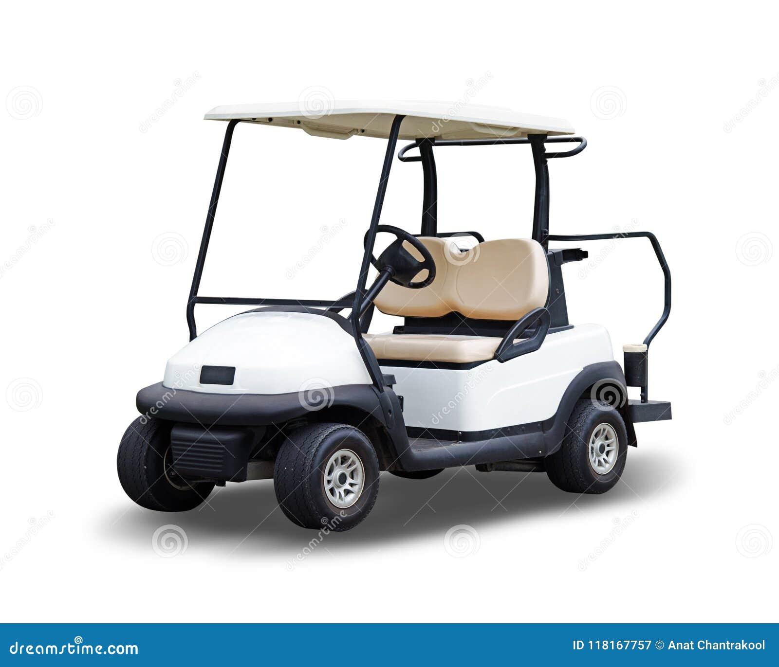 Golfowej fury golfcart odizolowywający na białym tle