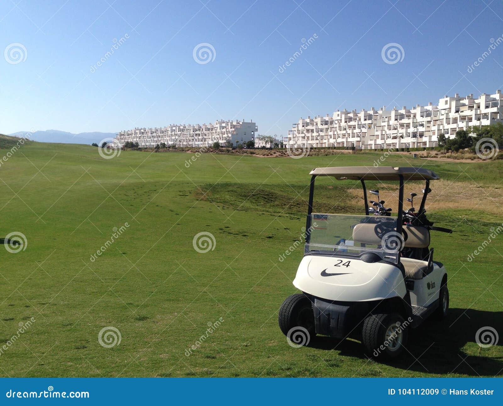 Golfowy powozik parkujący na golfowym cource