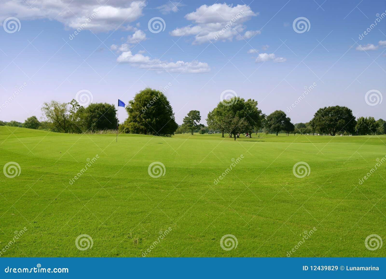 Golfowy trawy zieleni krajobraz Texas