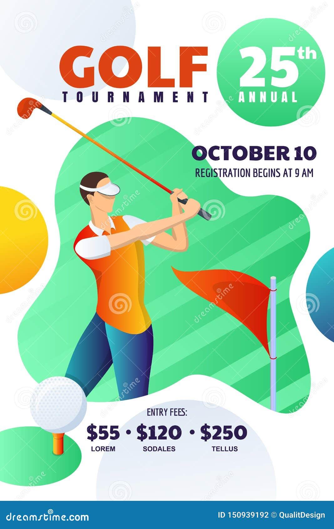 Golfowy turniej lub rywalizacja, plakat, ulotka, biletowy układ Wektorowa ilustracja bawić się golfa i uderzenia mężczyzna piłka