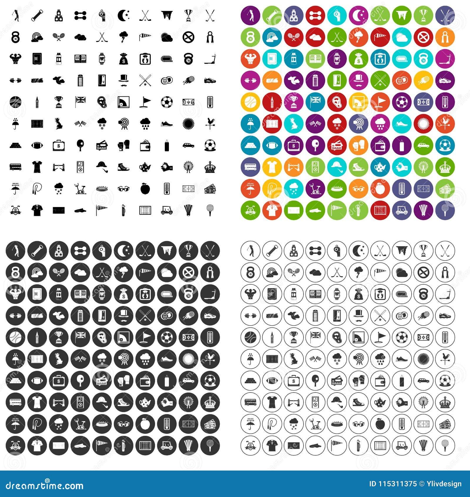 100 golfpictogrammen geplaatst vectorvariant