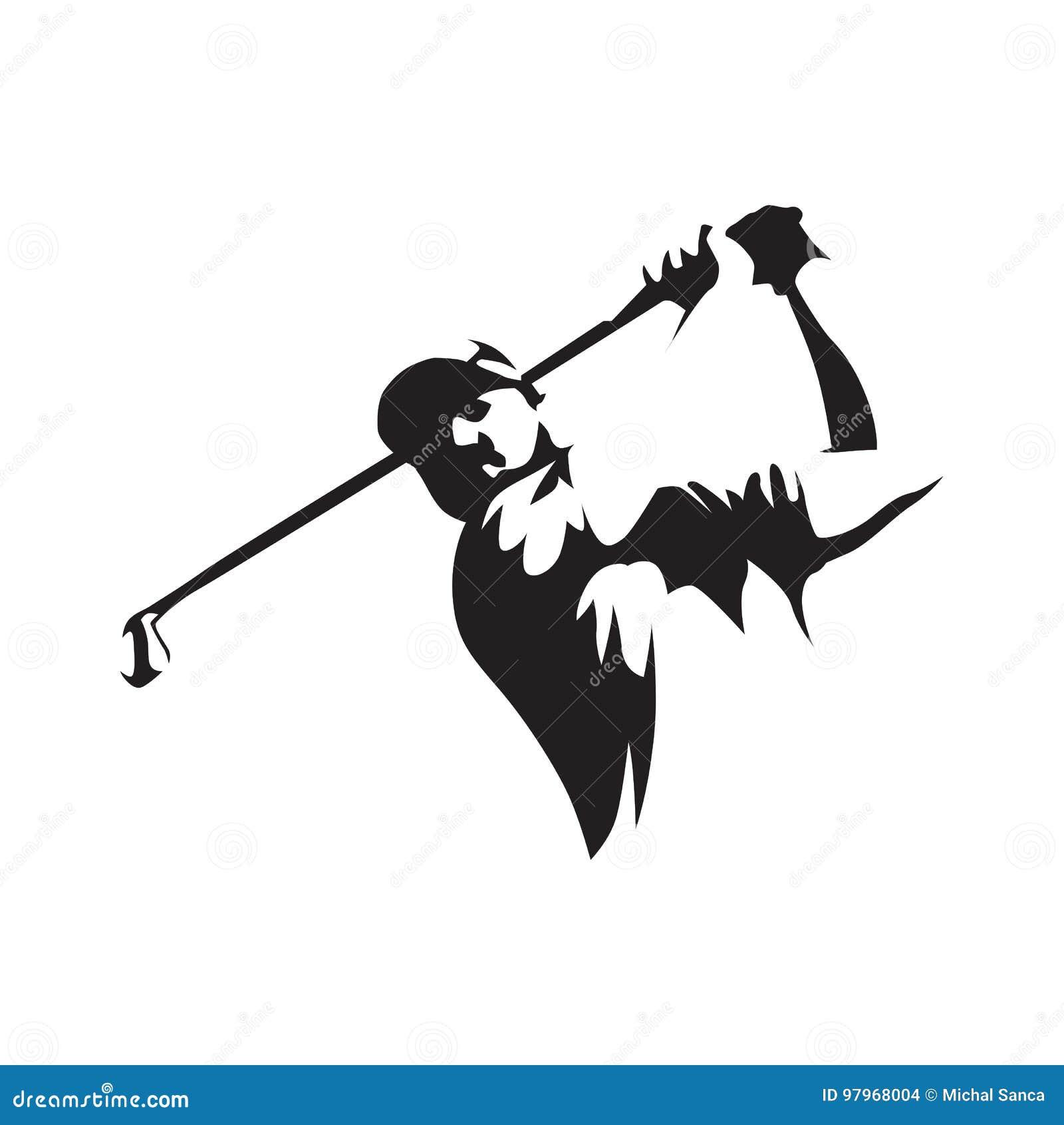 Golfspeler abstract silhouet, vooraanzicht Golfembleem