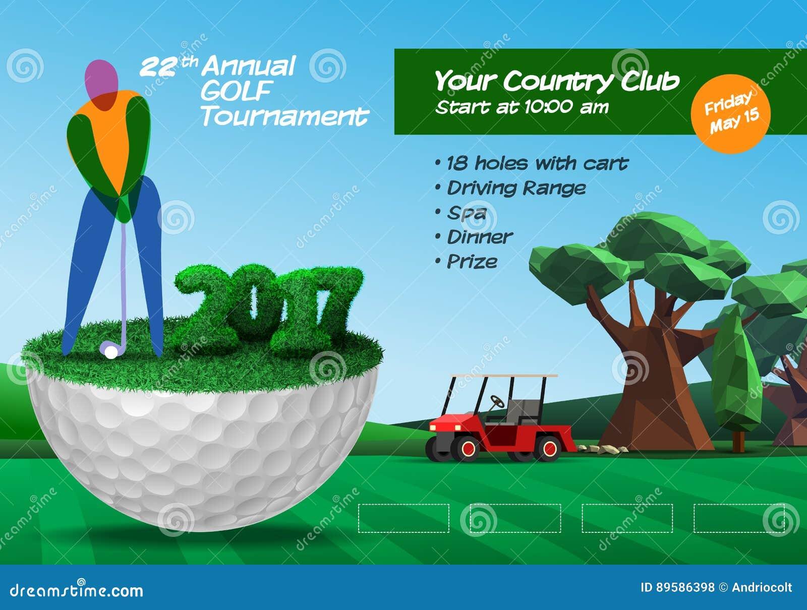 Golfspeler die zich op halve golfbal bevinden Horizontale brochu van het golfkaartje