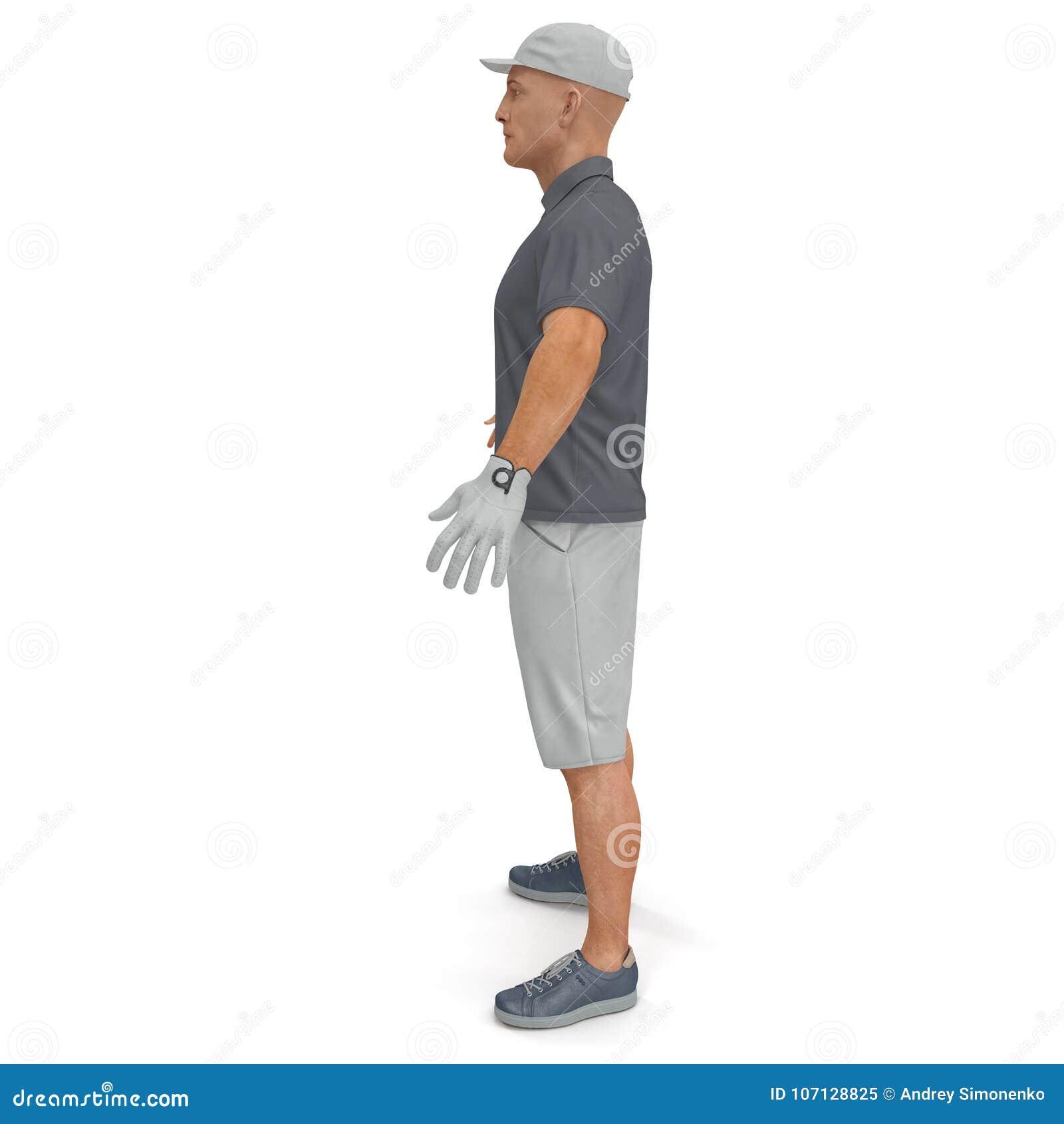 Golfspeler in een grijs overhemd op een wit 3D Illustratie