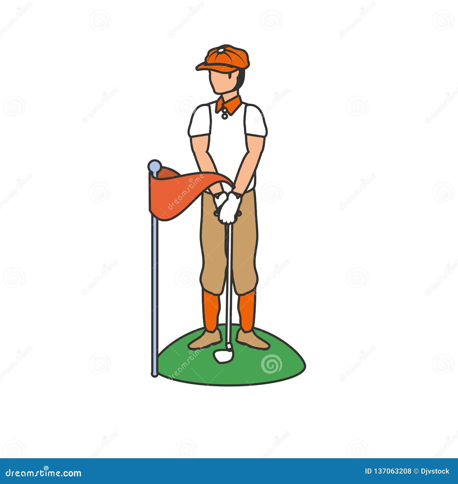 Golfspeler met avatar van het stokgolf karakter
