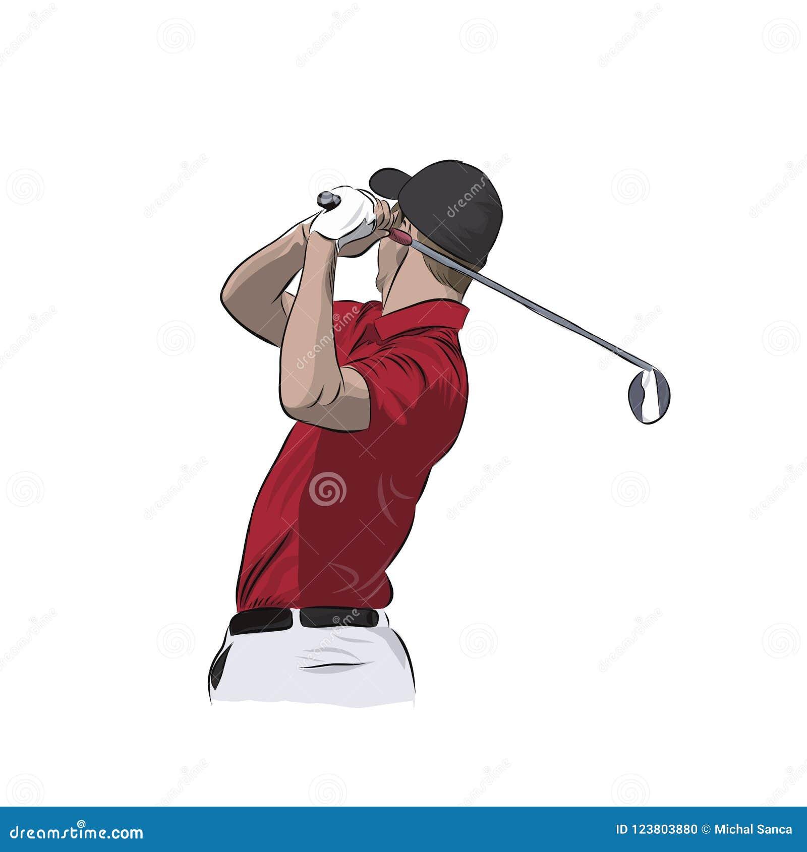 Golfspeler in rood polo, vectorillustratie