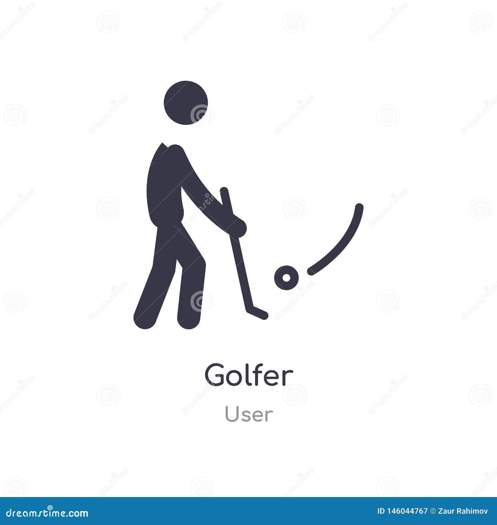 Golfspelerpictogram de geïsoleerde vectorillustratie van het golfspelerpictogram van gebruikersinzameling editable zing symbool k