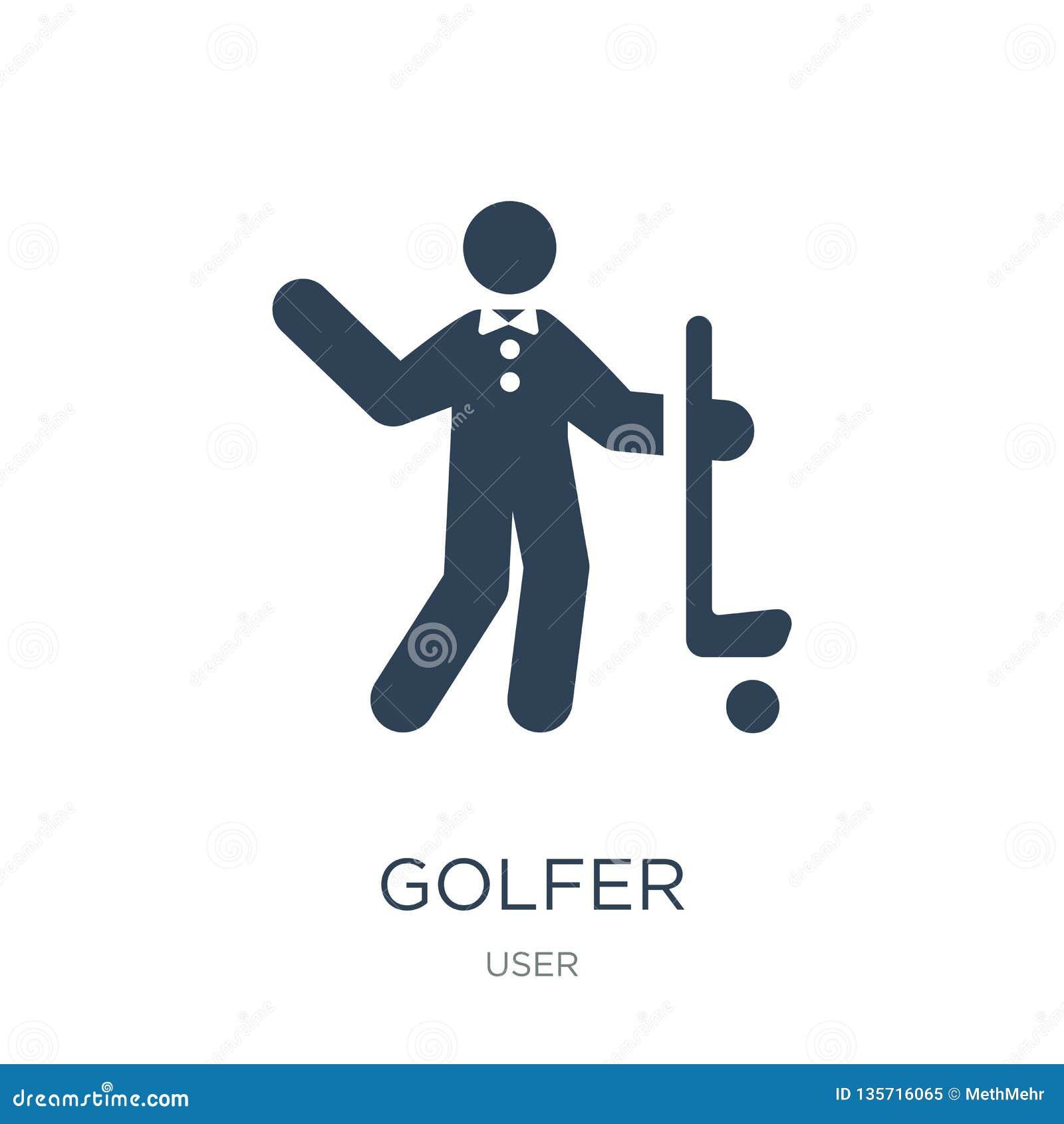 Golfspelerpictogram in in ontwerpstijl golfspelerpictogram op witte achtergrond wordt geïsoleerd die eenvoudige en moderne vlakke