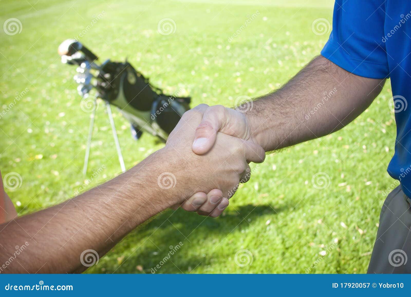 Golfspelers die Handen schudden