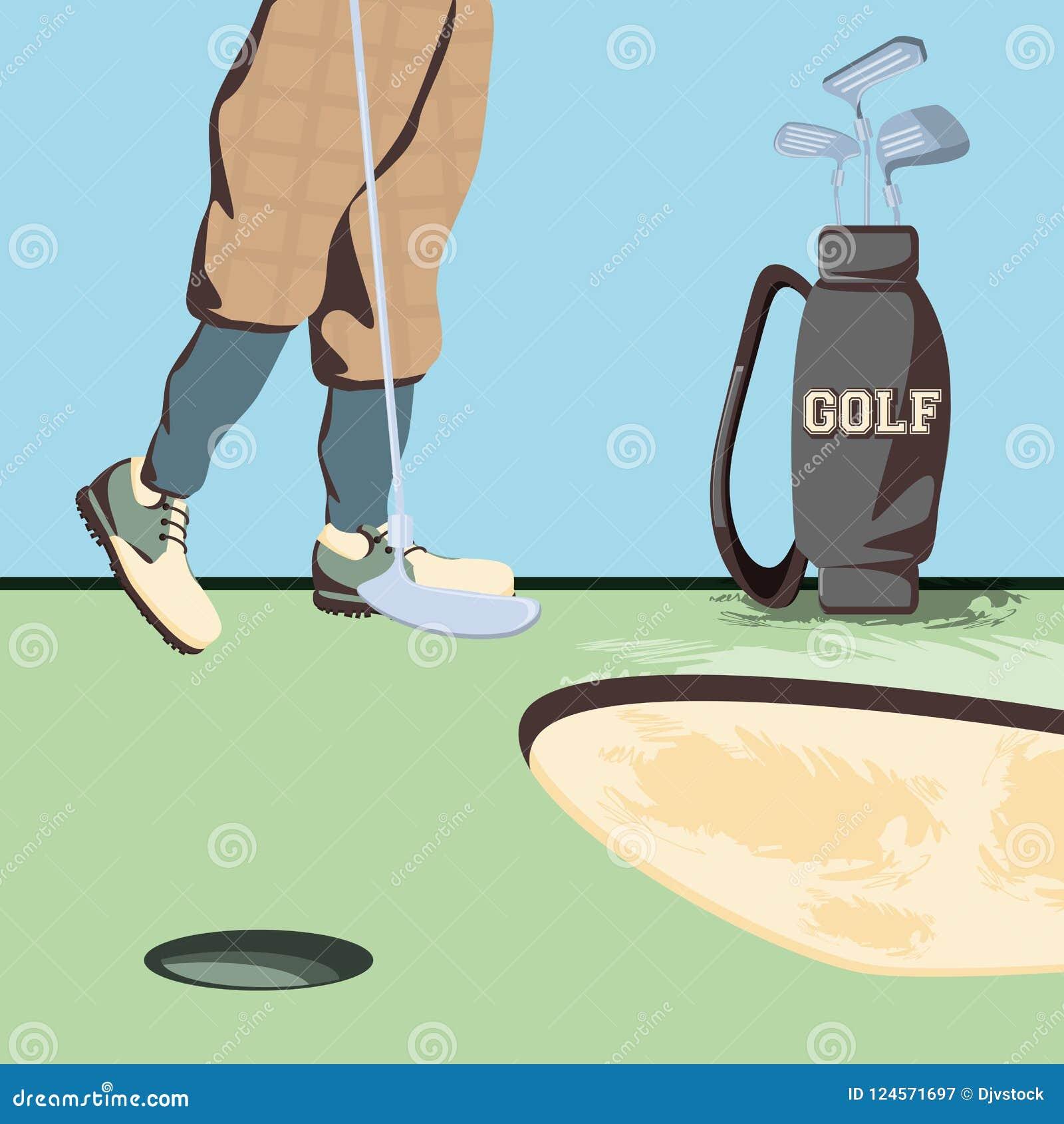 Golfspelervoeten op golfcursus