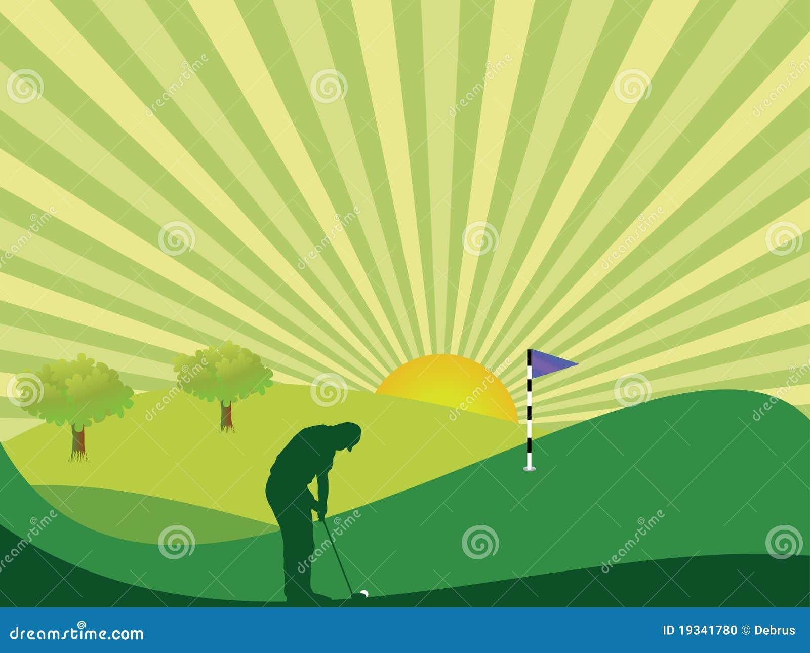 Golfspieler in der Landschaft