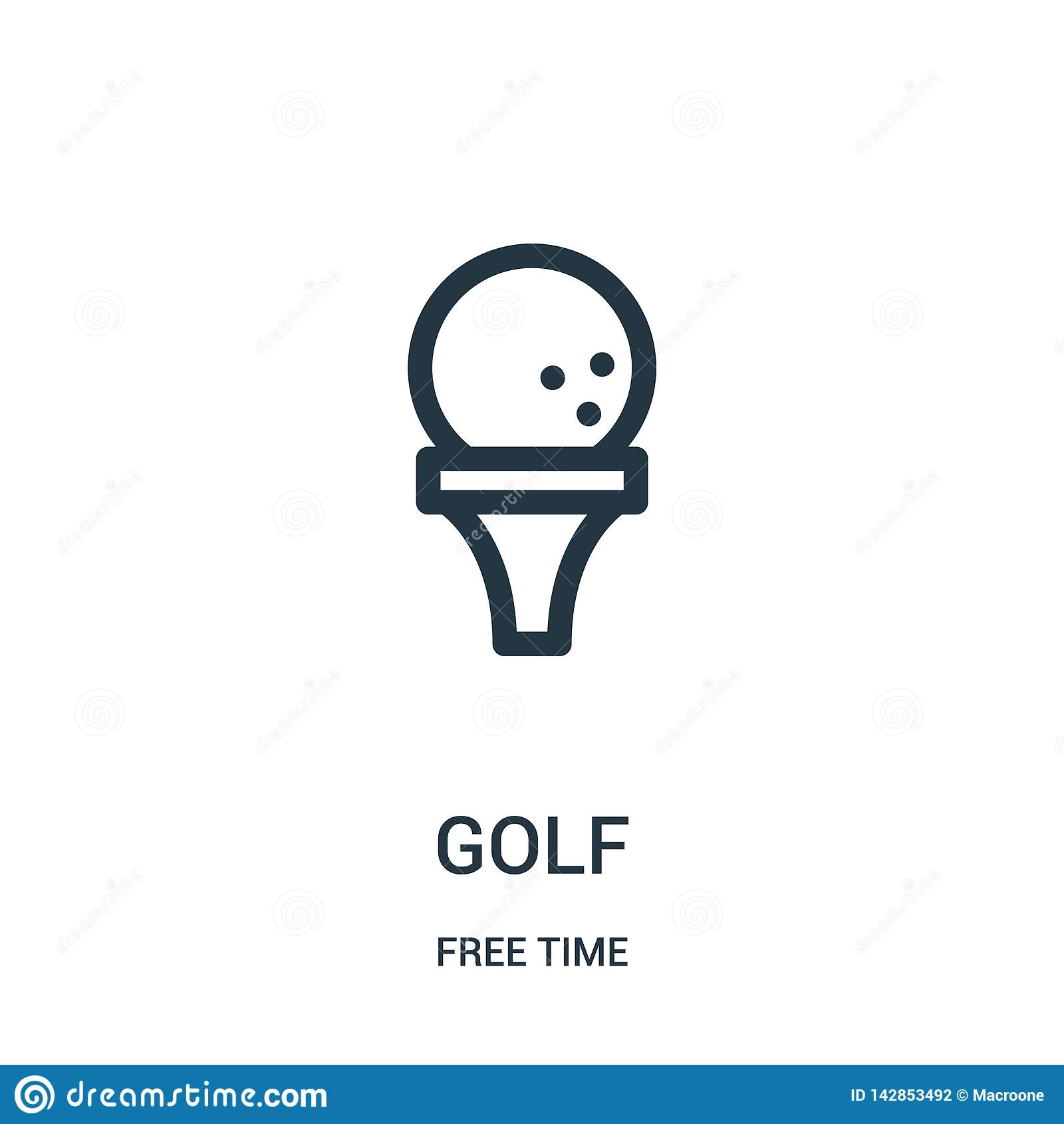 Golfsymbolsvektor från samling för fri tid Tunn linje illustration för vektor för golföversiktssymbol Linjärt symbol för bruk på
