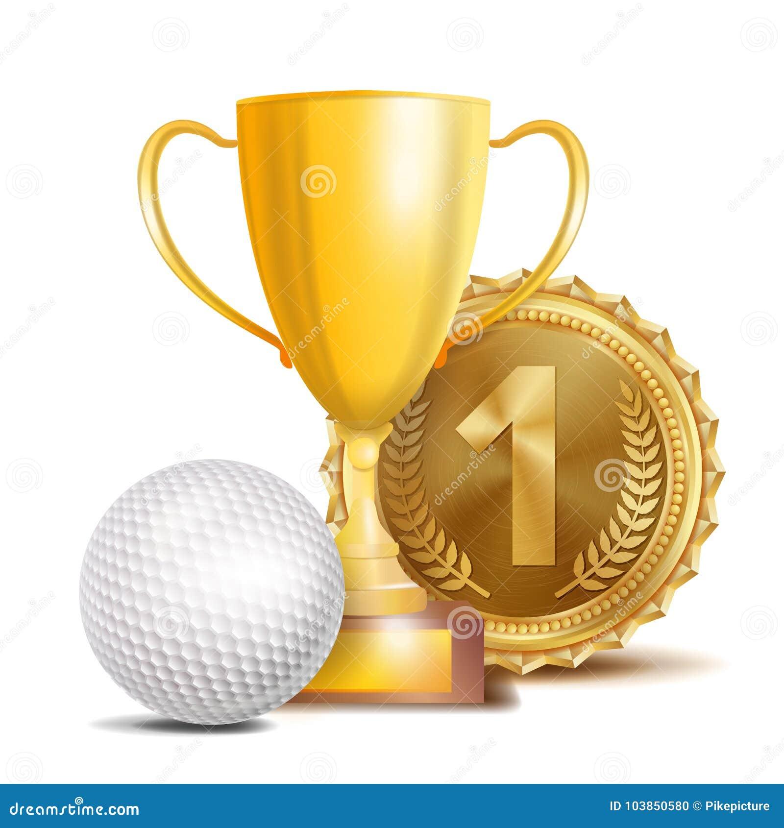 Golfutmärkelsevektor Sportbanerbakgrund Vit boll, guld- vinnaretrofékopp, guld- 1st ställemedalj realistisk 3D