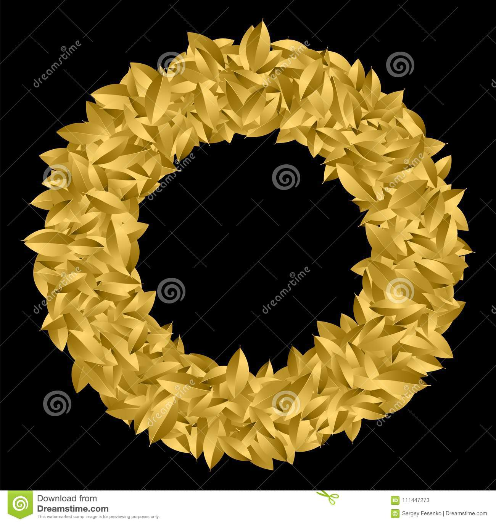 Golgen Leaf Symbol Triumph Stock Vector Illustration Of Glitter