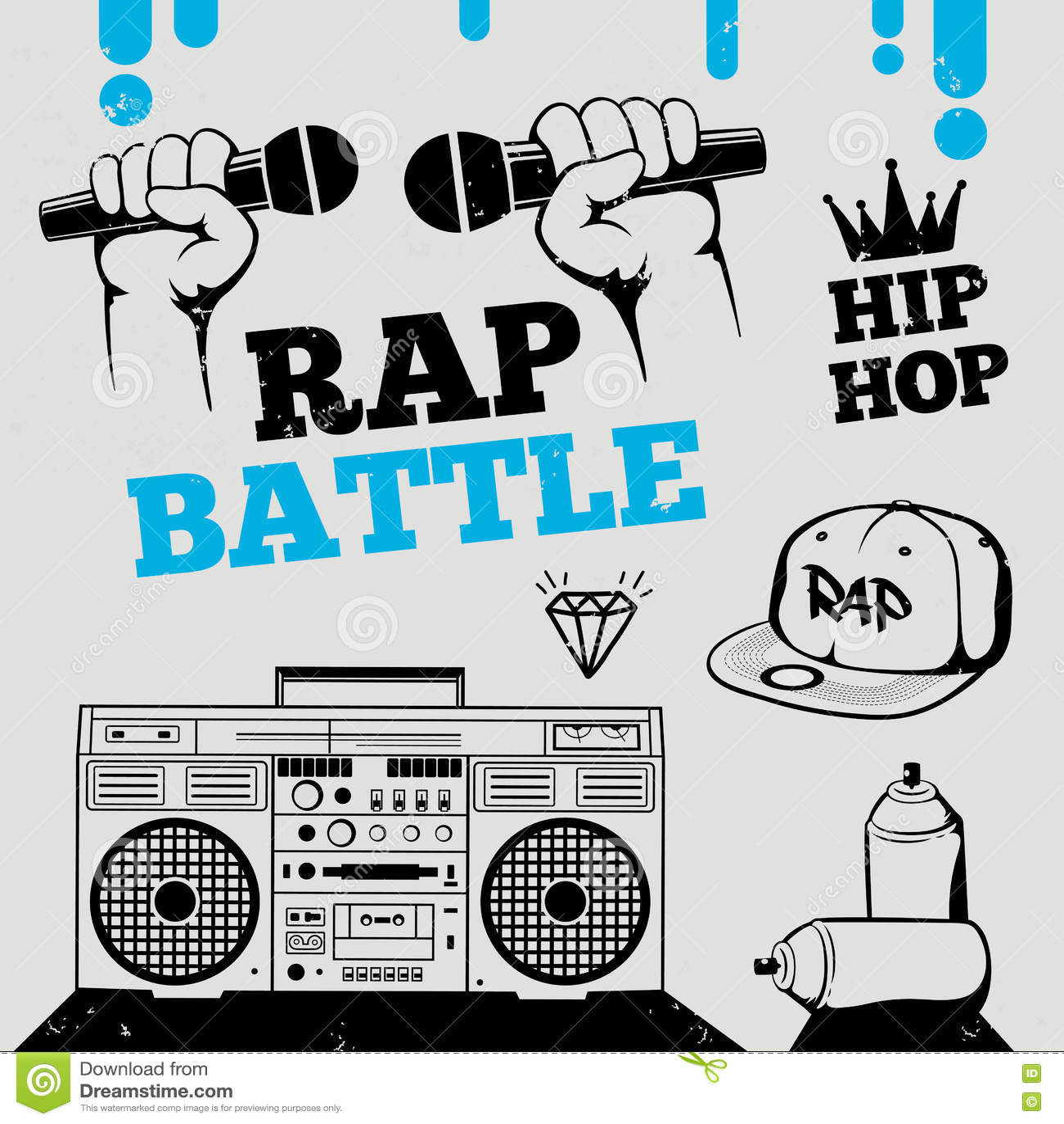 Golpee la batalla, hip-hop, elementos del diseño de la música del breakdance