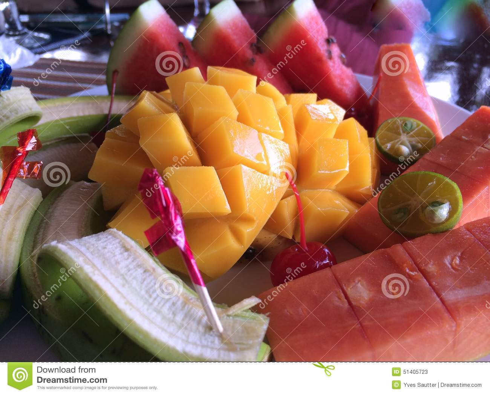 Golpeteo tailandés de la fruta, desayuno
