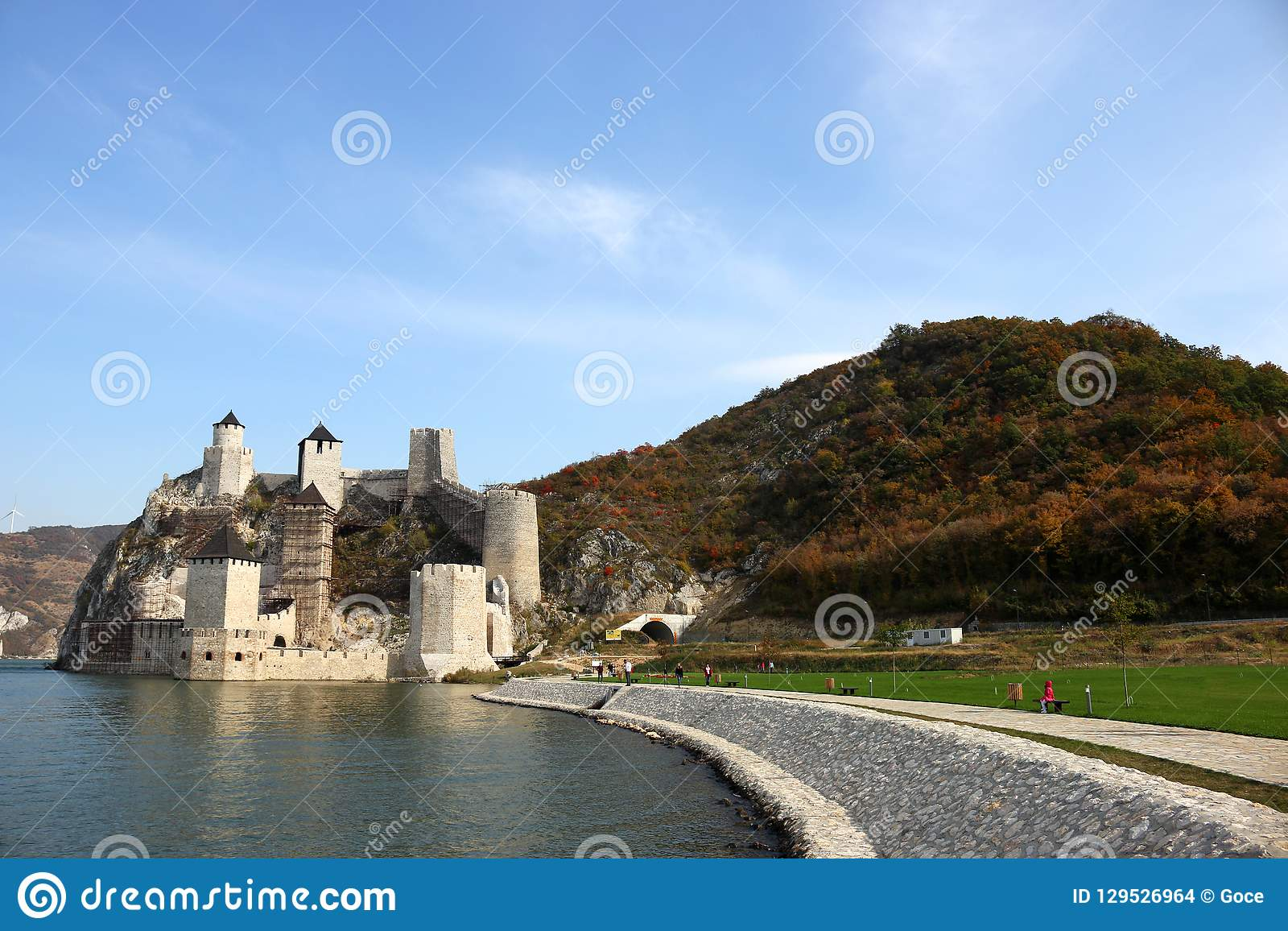 Golubac fortress on Danube autumn season landscape