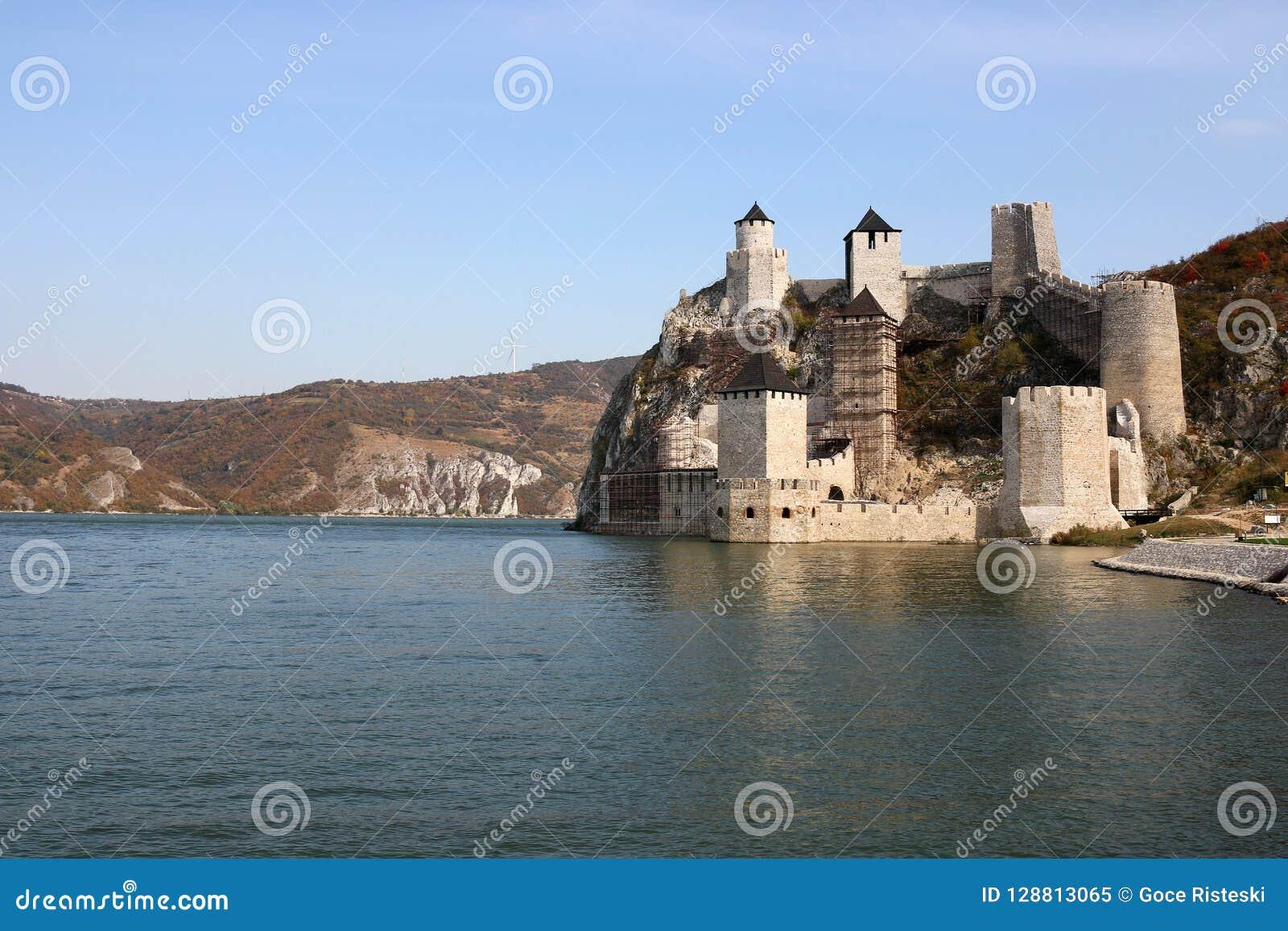 Golubac fortress on Danube river autumn season landscape