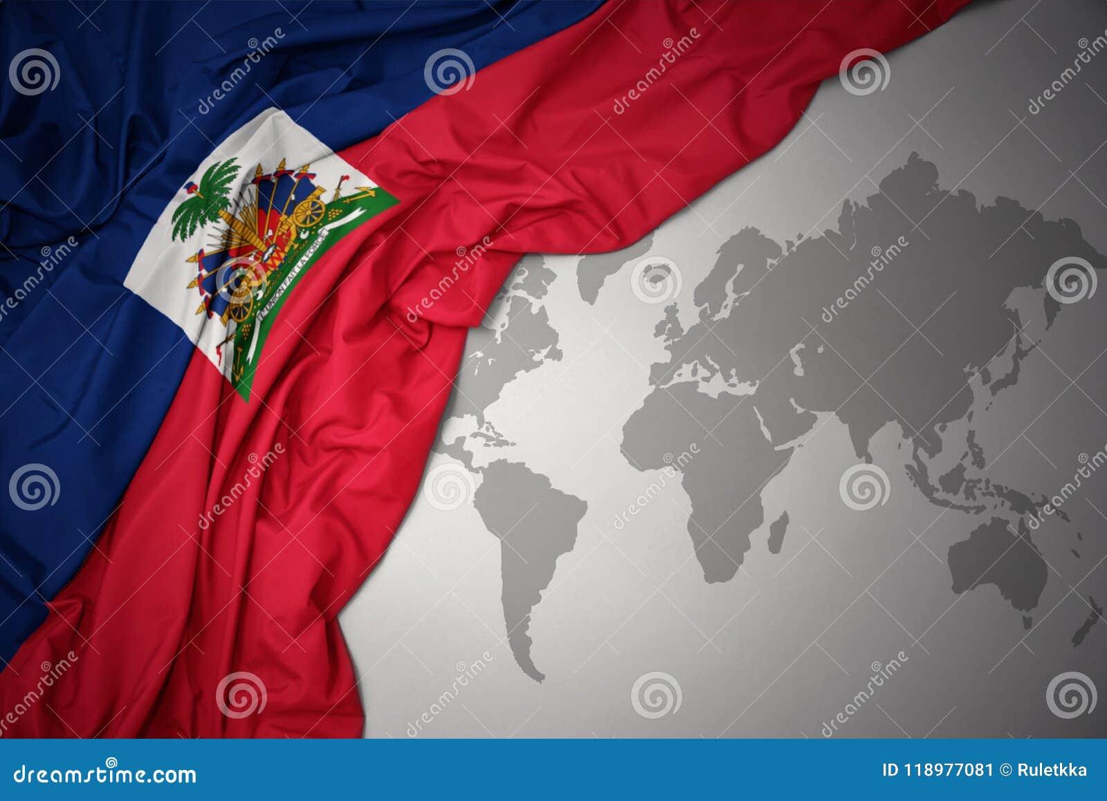 Golvende kleurrijke nationale vlag van Haïti