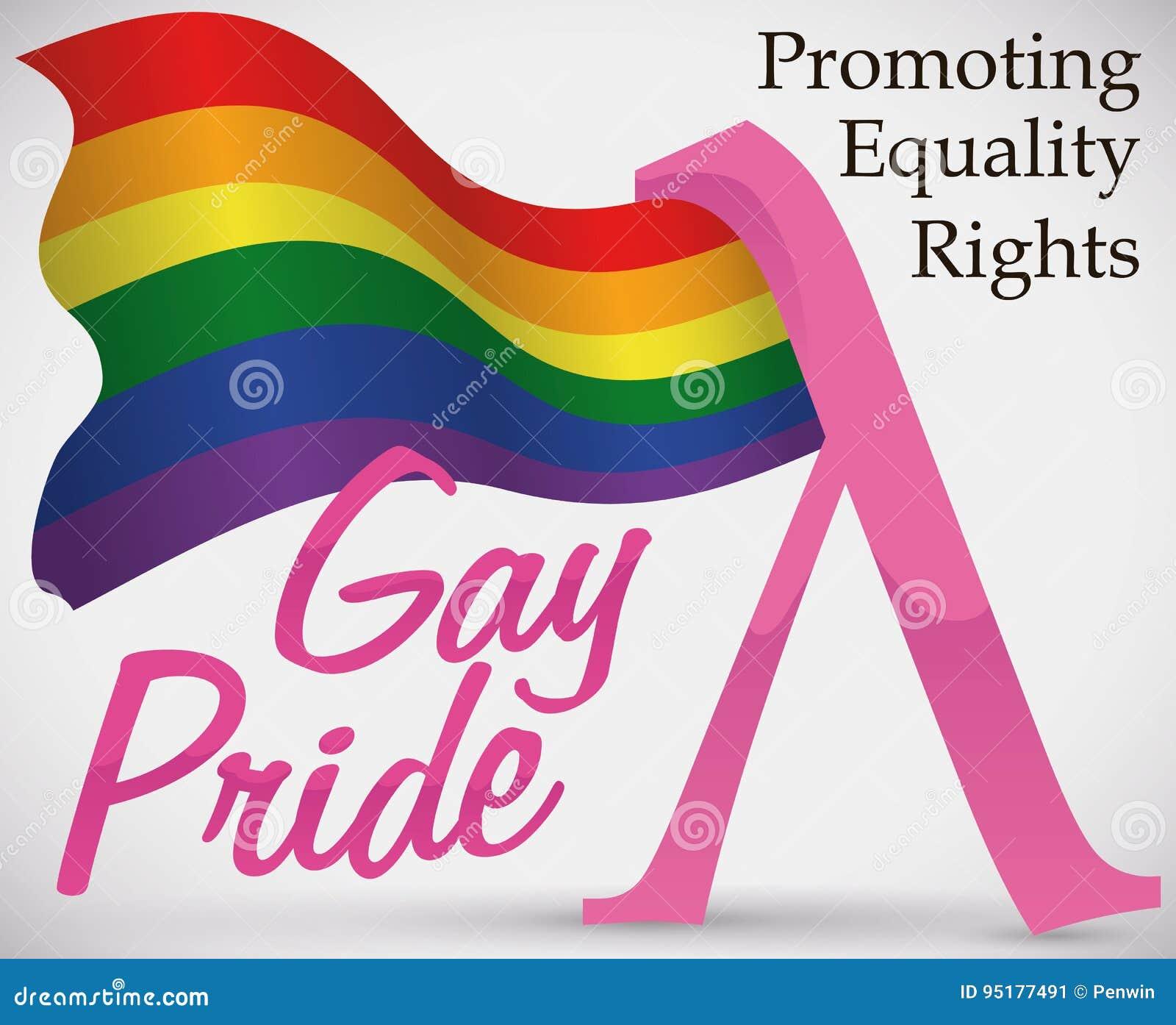Golvende Regenboogvlag en Roze Lambda-Symbool voor Vrolijke Trots, Vectorillustratie