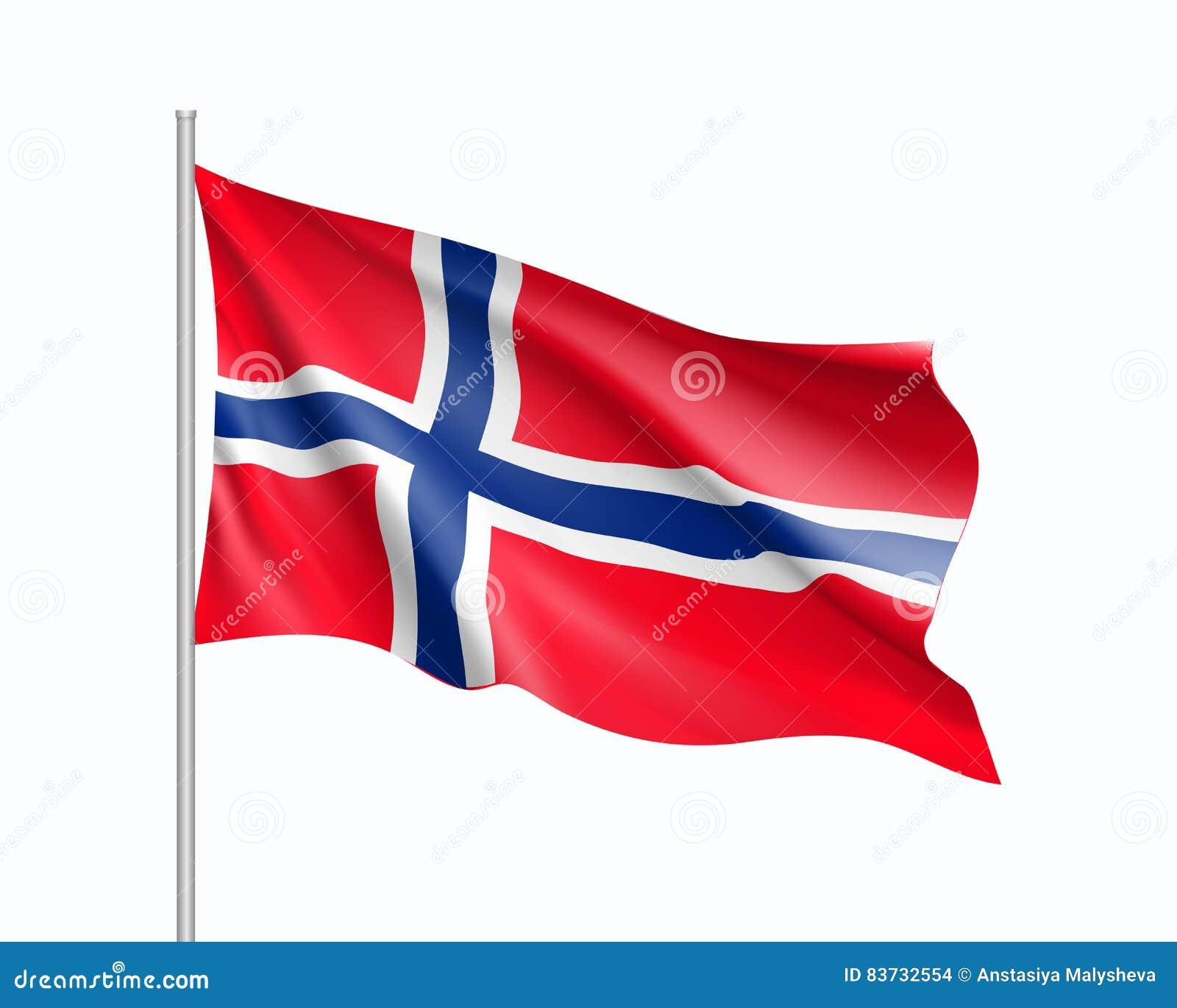 Golvende vlag van de staat van Noorwegen