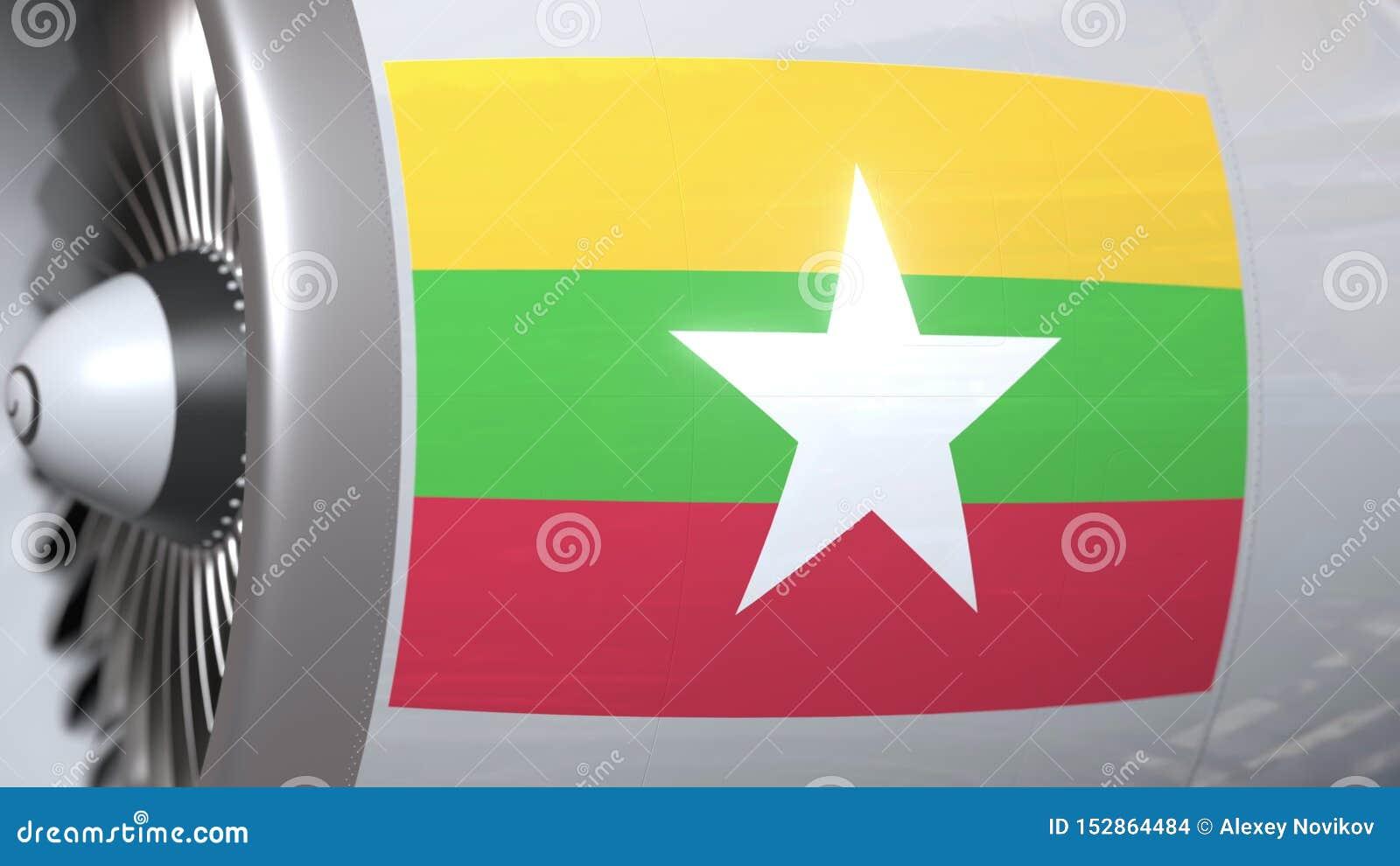 Golvende vlag van Myanmar op de motor van vliegtuigtourbine De luchtvaart bracht het 3D teruggeven met elkaar in verband