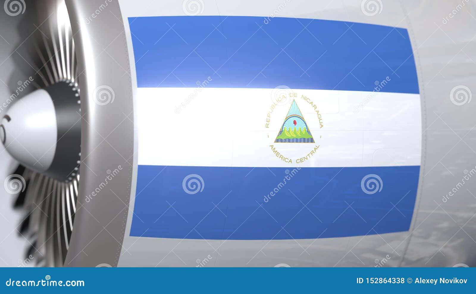 Golvende vlag van Nicaragua op de motor van vliegtuigtourbine De luchtvaart bracht het 3D teruggeven met elkaar in verband