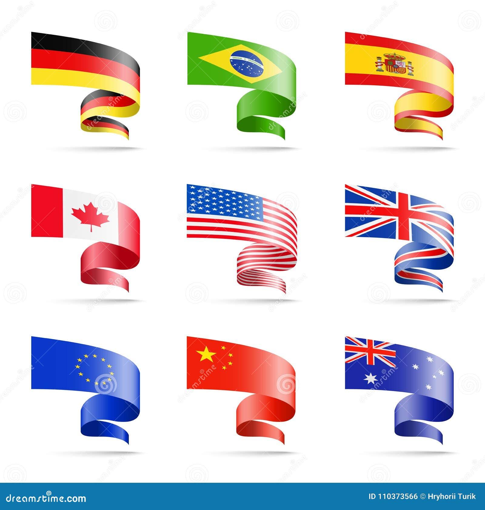Golvende vlaggen van populaire landen in de vorm van linten op een witte achtergrond