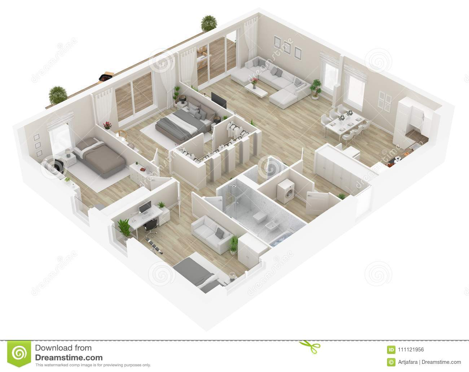 Golvplan av en bästa sikt för hus Öppna den bosatta lägenhetorienteringen för begreppet