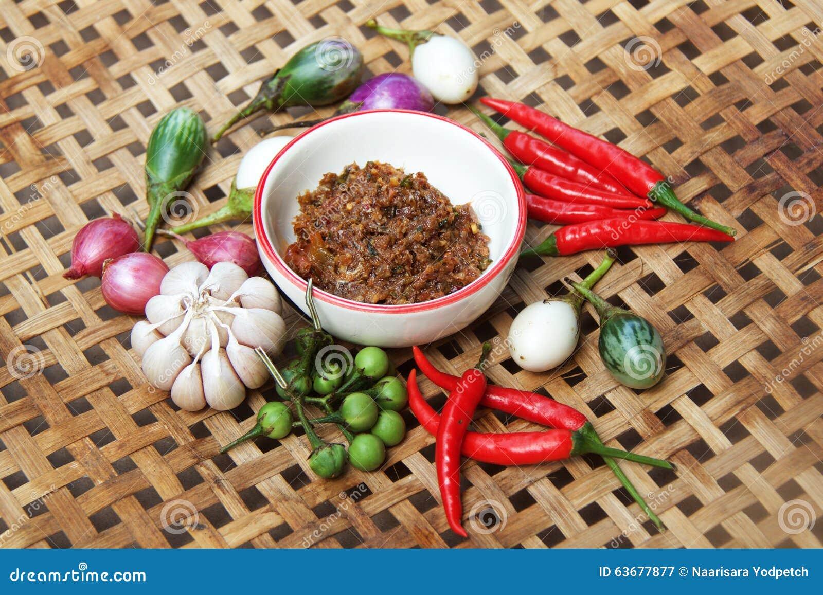 Goma del chile con la verdura