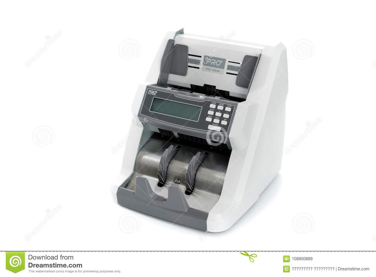 GOMEL, BELARUS - March 27, 2013: The counter of the banknotes of the firm GTS on the white background.