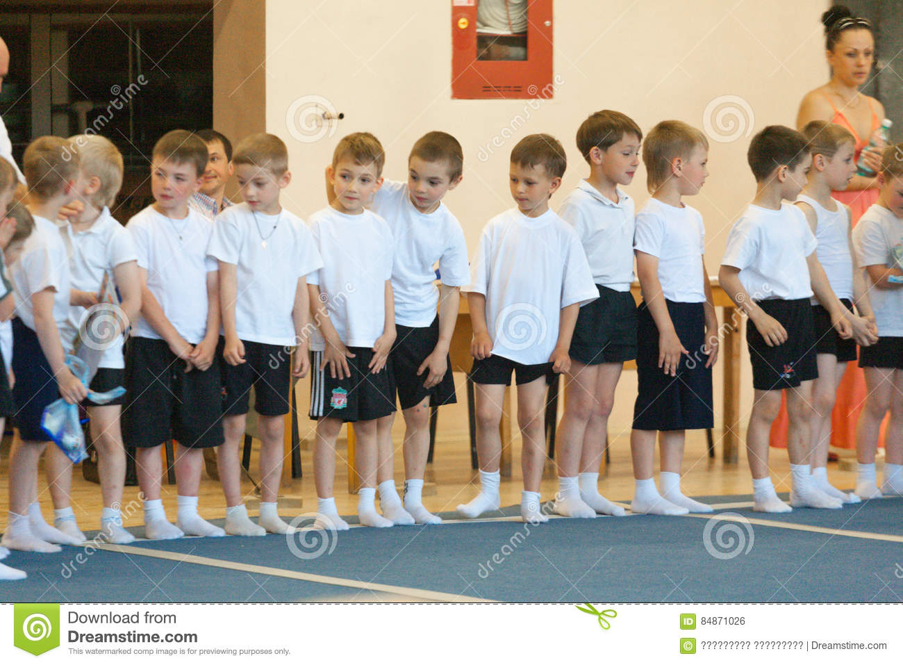 Gomel, Belarus - MAY 21, 2012: The competition among the boys in 2006 - 2007 in gymnastics. Discipline - general physical training
