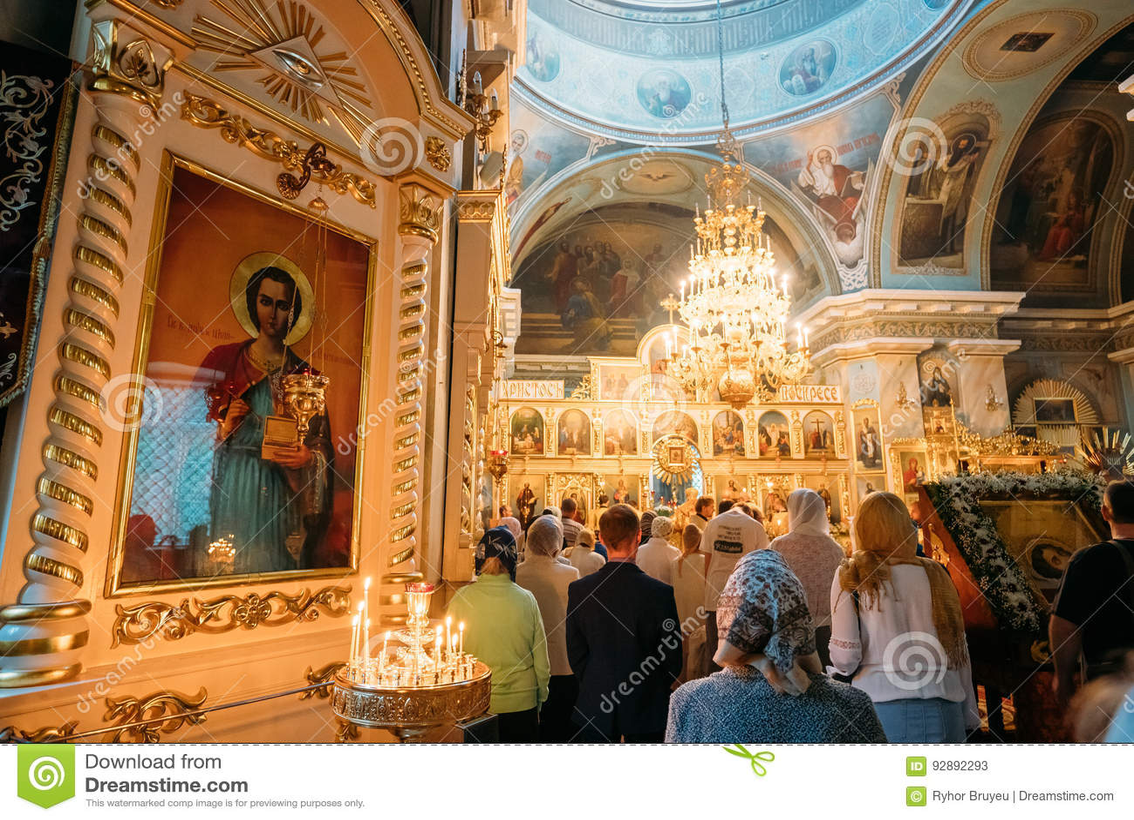 Gomel, Belarus. Parishioners People Visiting Public Church Service