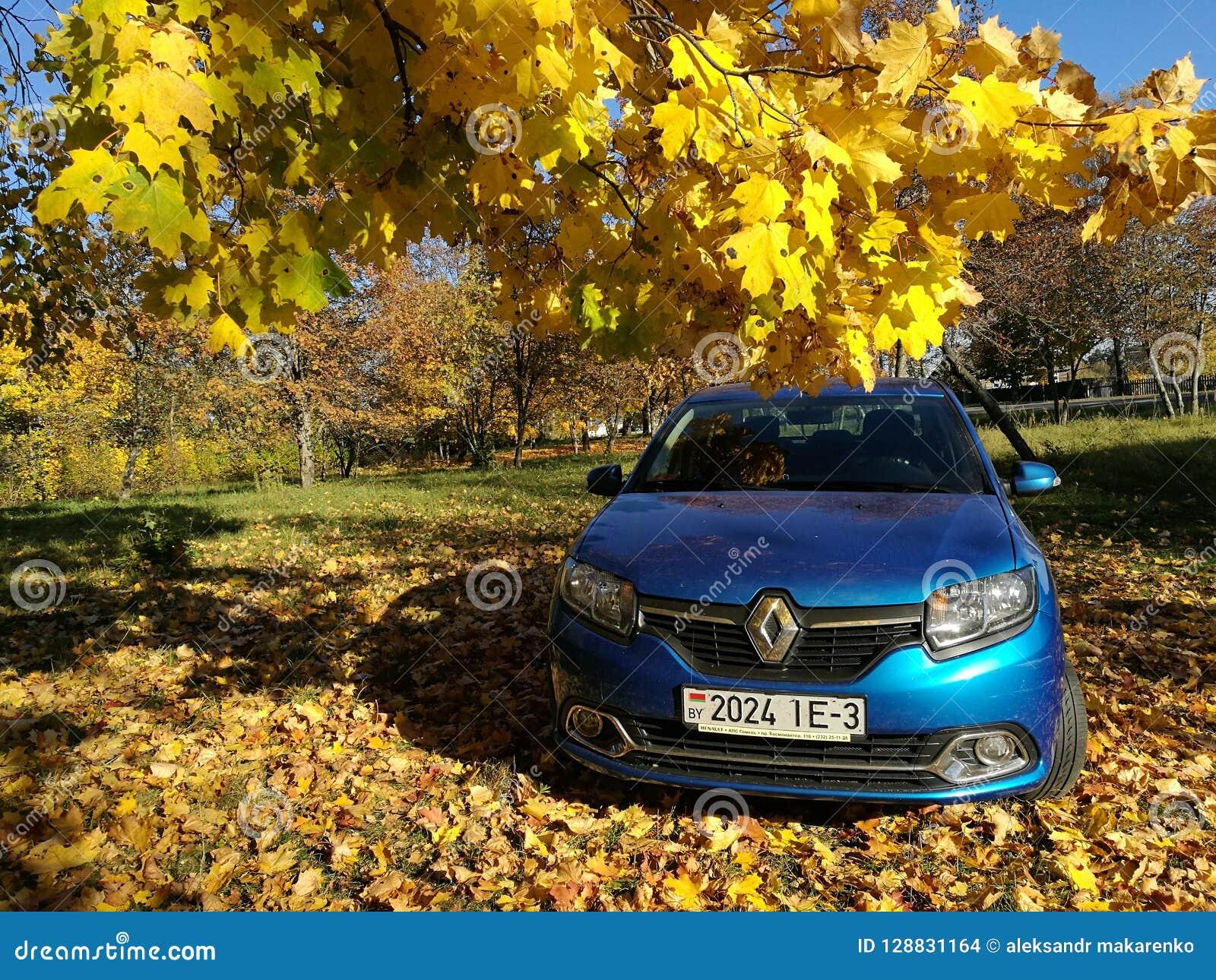 GOMEL, WEISSRUSSLAND - 14. Oktober 2018: Selbst-Renault Logan geparkt im Herbstwald