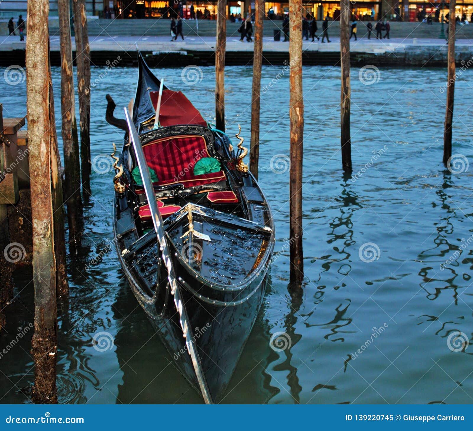 Gondola moored near the Venice train station