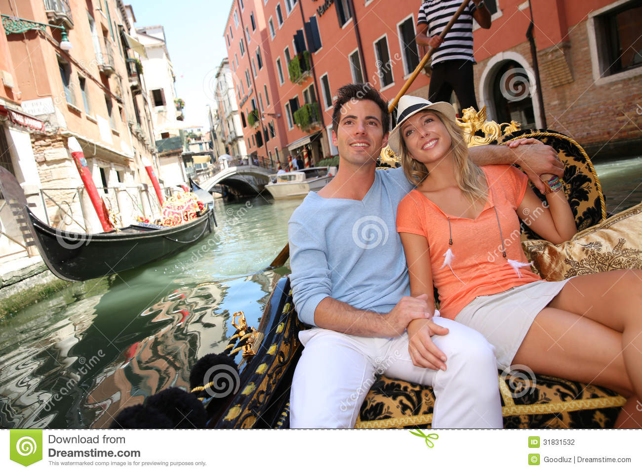 Gondola ride in Venice stock photo. Image of couple, tourists - 31831532