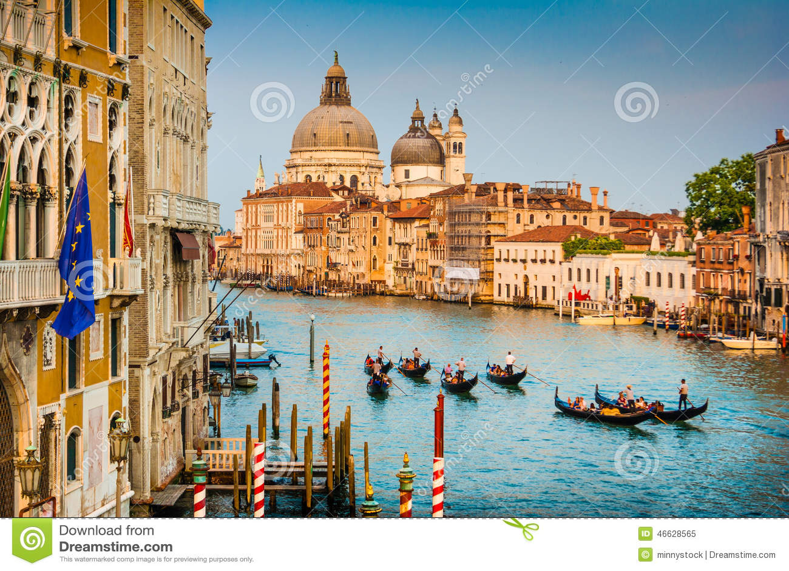 Gondolas On Canal Grande At Sunset  Venice  Italy Stock Photo