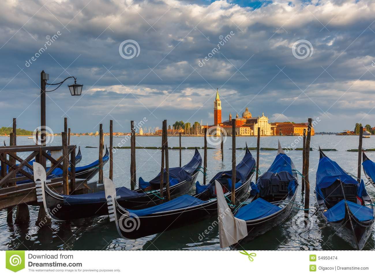 Download Gondolas In Venice Lagoon After The Storm, Italia Stock Photo - Image of landscape, docked: 54950474
