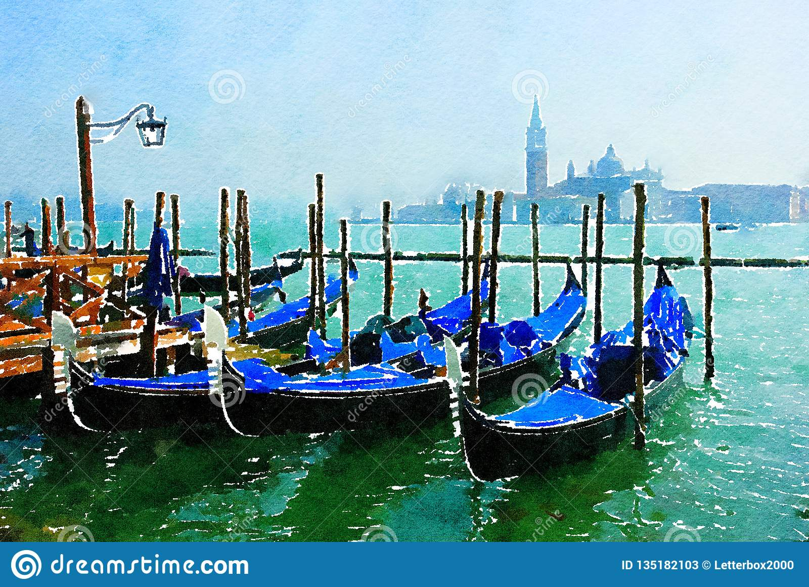 Gondoles au pilier à Venise