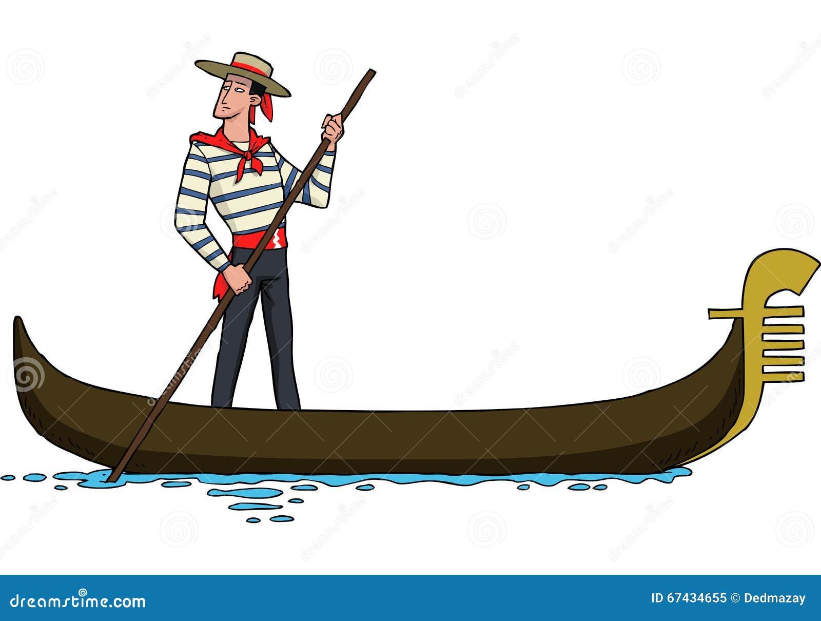 Gondolier on gondola stock vector. Illustration of design - 67434655