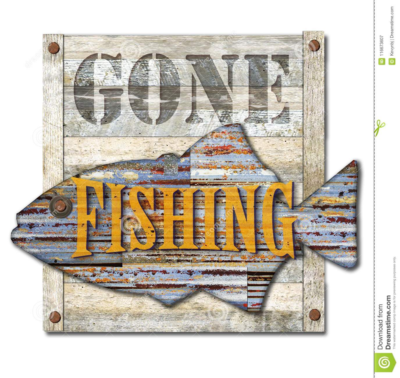 Gone Fishing Sign Art stock image. Image of isolated ...
