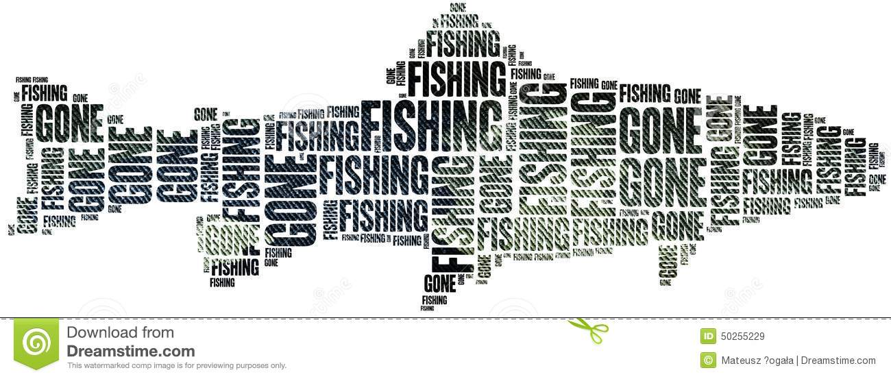 Gone fishing word cloud illustration stock illustration for Is fishes a word