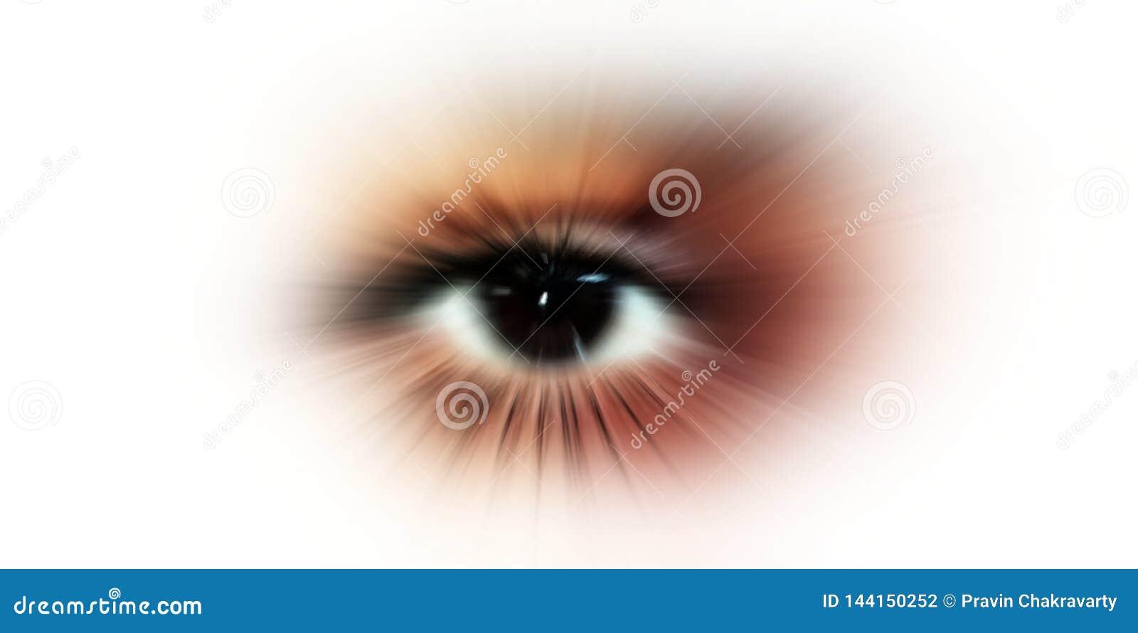 ?gonvision Abstrakt ?ga med den digitala cirkeln Futuristisk visionvetenskap och IDbegrepp
