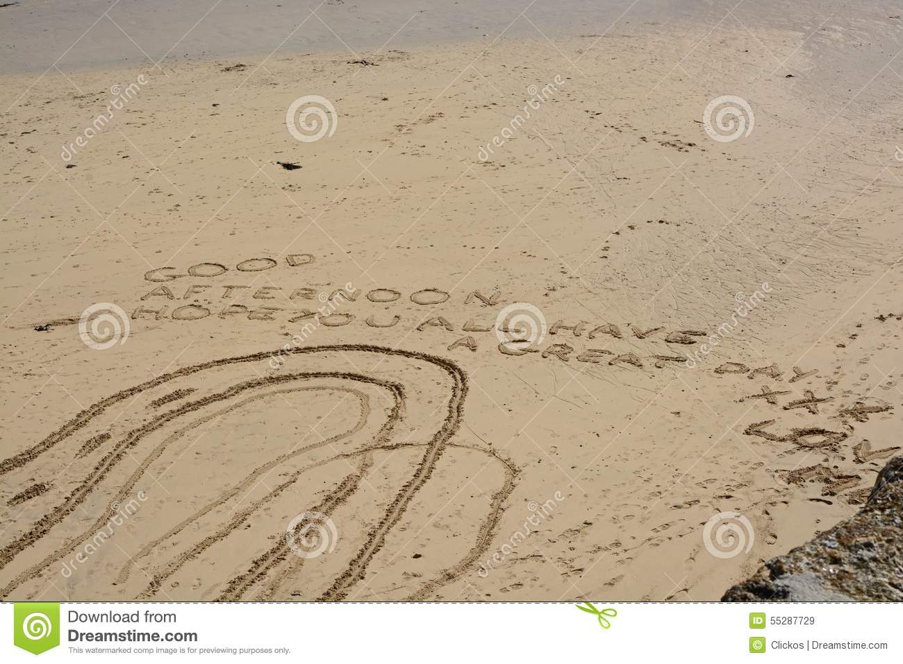 Good Afternoon Message in the sand