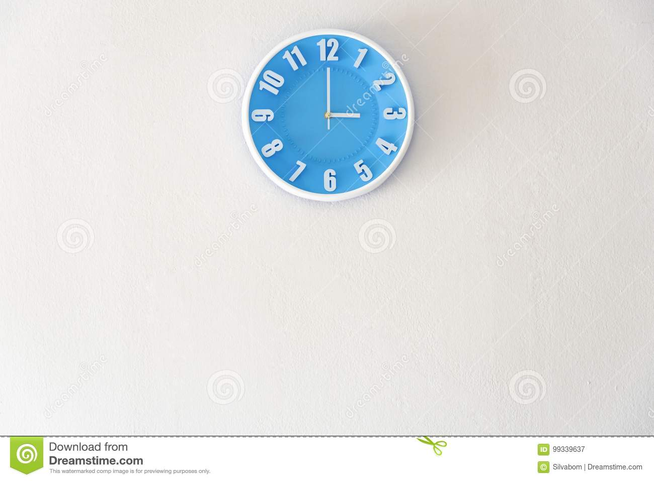 Good afternoon or after midnight with 3:00 clock on white concrete wall interior background with copy space, message board