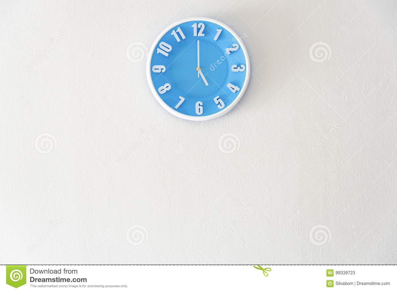Good afternoon or after midnight with 5:00 clock on white concrete wall interior background with copy space, message board
